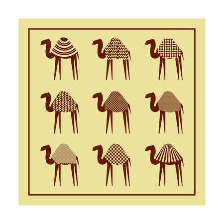 dromedary: Set of stylized camels on a beige background. Good use for company, design presentations, print on textiles. Vector illustration