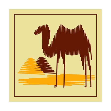 manually: Manually drawn camel against a backdrop of the pyramids. Illustration