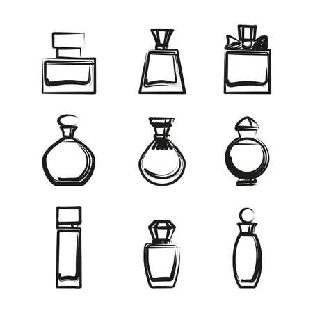 Set di diverse bottiglie di profumo in formato vettoriale su uno sfondo bianco. Molto facile da modificare Vettoriali