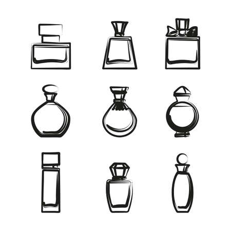 Set of different perfume bottles in vector format on a white background. Very easy to edit