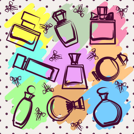 scent: Set of different perfume bottles in vector format. Very easy to edit Illustration