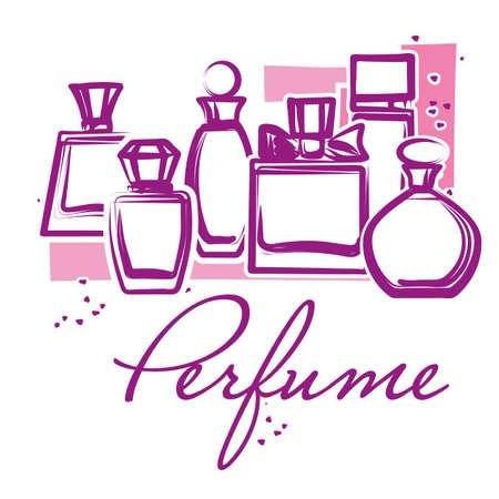 Conjunto de botellas de perfume dibujados a mano. Bosquejo. Perfume para mujer. botellas de cristal de belleza. Ejemplo elegante del vector