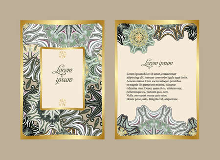 obverse: Elegant card with a floral pattern mandala. Vector pattern in eastern style. The obverse and reverse sides. Perfect for congratulations or invitation. Easy to edit Illustration