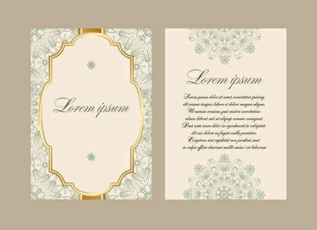 obverse: Elegant card with a floral pattern mandala. Vector pattern in Eastern style. The obverse and reverse sides. Perfect for congratulations or invitation. Easy to edit