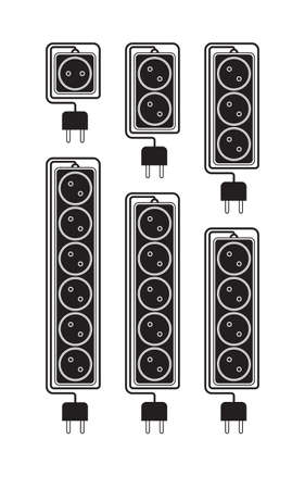 the surge: Collection electrical extension cords in a modern flat style. Electric surge protector icon, electric extension cable icon, electrical plug and electrical outlet. Schematic image. Vector illustration