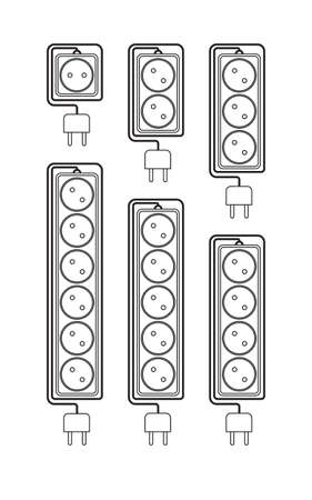 the protector: Collection electrical extension cords in a modern linear style. Electric surge protector icon, electric extension cable icon, electrical plug and electrical outlet. Schematic image. Vector