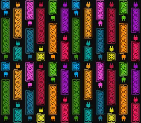 Seamless de rallonges électriques colorées. bande de puissance électrique dans un style plat moderne. Convient pour la conception d'emballages de produits électriques, conception de sites Web, catalogues publicitaires. Vecteur