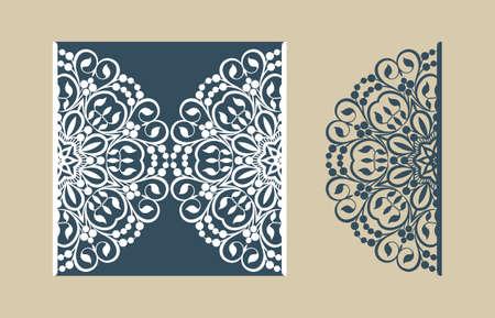 tarjeta de invitacion: La disposición de las tarjetas en tres adiciones. La plantilla es adecuada para tarjetas de felicitación, invitaciones, menús, etc. la imagen adecuada para el corte por láser o impresión. Vector. Fácil de editar