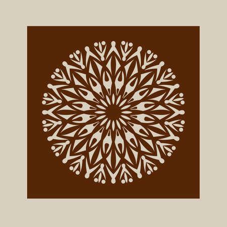 corte laser: El patrón de plantilla mandala de roseta decorativa. Una imagen adecuada para la impresión, el grabado, el papel del corte por láser, la madera, el metal, la fabricación de la plantilla. Vector. Fácil de editar