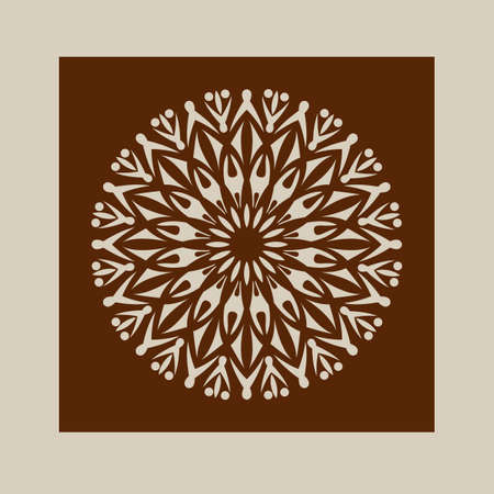 die cut: The template mandala pattern for decorative rosette. A picture suitable for printing, engraving, laser cutting paper, wood, metal, stencil manufacturing. Vector. Easy to edit
