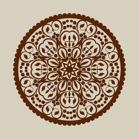 cut outs: The template mandala pattern for decorative rosette. A picture suitable for printing, engraving, laser cutting paper, wood, metal, stencil manufacturing. Vector. Easy to edit