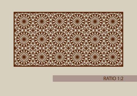 적합: Floral ornament. The template pattern for decorative panel. A picture suitable for printing, engraving, laser cutting paper, wood, metal, stencil manufacturing. Vector. Easy to edit