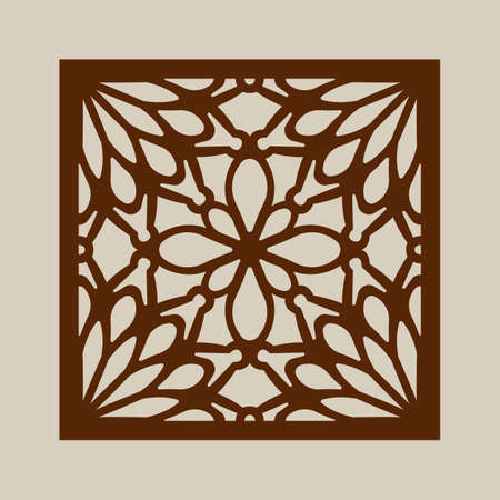 cut outs: Geometric ornament. The template pattern for decorative panel. A picture suitable for printing, engraving, laser cutting paper, wood, metal, stencil manufacturing. Vector. Easy to edit