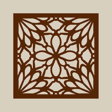 tallado en madera: ornamento geométrico. El patrón de plantilla para el panel decorativo. Una imagen adecuada para la impresión, el grabado, el papel del corte por láser, la madera, el metal, la fabricación de la plantilla. Vector. Fácil de editar