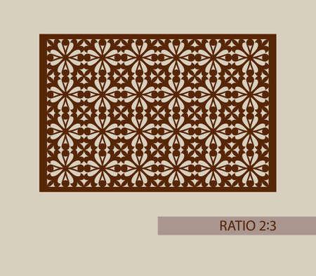 corte laser: ornamento geométrico. El patrón de plantilla para el panel decorativo. Una imagen adecuada para la impresión, el grabado, el papel del corte por láser, la madera, el metal, la fabricación de la plantilla. Vector. Fácil de editar