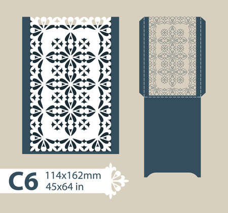 corte laser: Template congratulatory envelope with carved openwork pattern. Template is suitable for greeting cards, invitations, menus, etc. Picture suitable for laser cutting or printing. Vector. Easy to edit