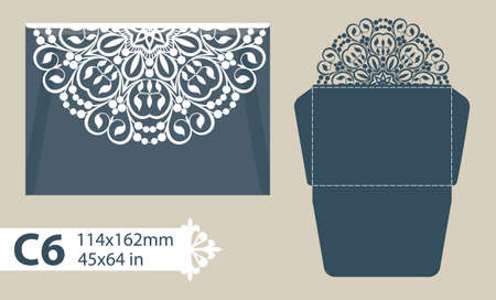 envelope: Template congratulatory envelope with carved openwork pattern. Template is suitable for greeting cards, invitations, menus, etc. Picture suitable for laser cutting or printing. Vector. Easy to edit