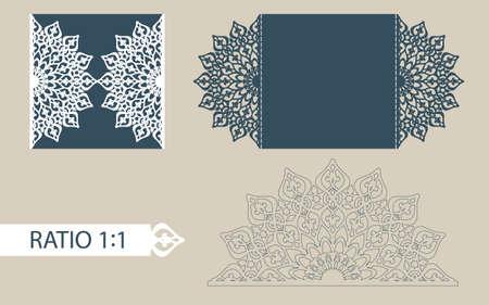La disposizione delle carte in tre aggiunte. Il modello è adatto per biglietti di auguri, inviti, menù, ecc l'immagine adatta per il taglio laser o la stampa. Vettore. Facile da modificare