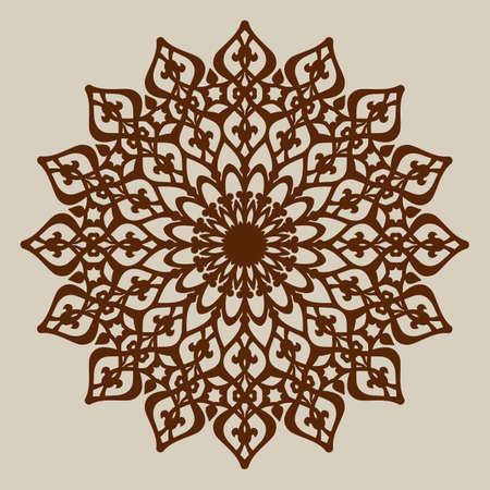 tallado en madera: El patrón de plantilla mandala de roseta decorativa. Una imagen adecuada para la impresión, el grabado, el papel del corte por láser, la madera, el metal, la fabricación de la plantilla. Vector. Fácil de editar
