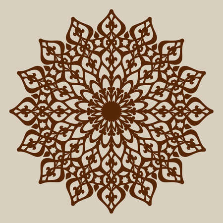 The template mandala pattern for decorative rosette. A picture suitable for printing, engraving, laser cutting paper, wood, metal, stencil manufacturing. Vector. Easy to edit