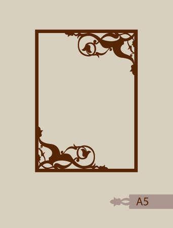 Abstracte vierkante fotolijst met wervelingen. Patroon is geschikt voor wenskaarten, uitnodigingen, menu's, een designinterieur etc. Template geschikt voor lasersnijden of afdrukken. Vector. Gemakkelijk te bewerken Stock Illustratie