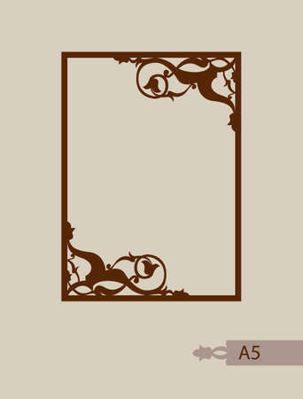Abstract square photo frame with swirls. Pattern is suitable for greeting cards, invitations, menus, design interiors etc. Template suitable for laser cutting or printing. Vector. Easy to edit