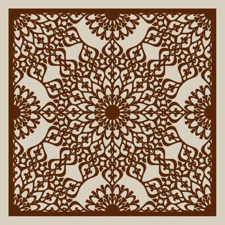wood cuts: Geometric ornament. The template pattern for decorative panel. A picture suitable for printing, engraving, laser cutting paper, wood, metal, stencil manufacturing. Vector. Easy to edit