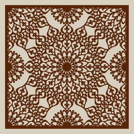 ornamento geométrico. El patrón de plantilla para el panel decorativo. Una imagen adecuada para la impresión, el grabado, el papel del corte por láser, la madera, el metal, la fabricación de la plantilla. Vector. Fácil de editar Ilustración de vector