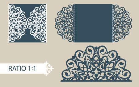 corte laser: La disposición de las tarjetas en tres adiciones. La plantilla es adecuada para tarjetas de felicitación, invitaciones, menús, etc. la imagen adecuada para el corte por láser o impresión. Vector. Fácil de editar