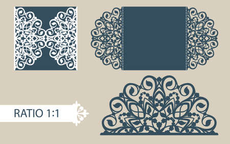 openwork: The layout of the cards in three additions. The template is suitable for greeting cards, invitations, menus, etc. the picture suitable for laser cutting or printing. Vector. Easy to edit