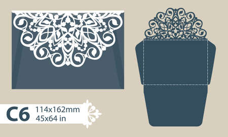 wood cuts: Template congratulatory envelope with carved openwork pattern. Template is suitable for greeting cards, invitations, menus, etc. Picture suitable for laser cutting or printing. Vector. Easy to edit