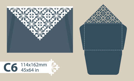 openwork: Template congratulatory envelope with carved openwork pattern. Template is suitable for greeting cards, invitations, menus, etc. Picture suitable for laser cutting or printing. Vector. Easy to edit