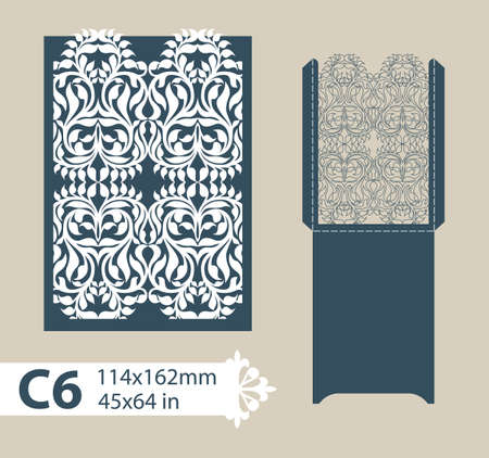 plotter: Layout congratulatory envelope with carved openwork pattern. Template is suitable for greeting cards, invitations, etc. Picture suitable for laser cutting, plotter cutting or printing. Vector