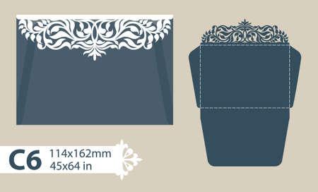 Layout felicitatie envelop met gesneden opengewerkte patroon. Sjabloon is geschikt voor wenskaarten, uitnodigingen, enz. Foto is geschikt voor lasersnijden, plotter snijden of afdrukken. Vector Stock Illustratie