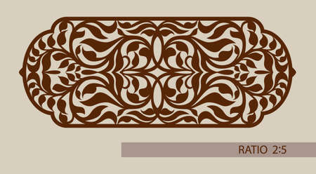 to cut out: Floral ornament. The template pattern for decorative panel. A picture suitable for printing, engraving, laser cutting paper, wood, metal, stencil manufacturing. Vector. Easy to edit