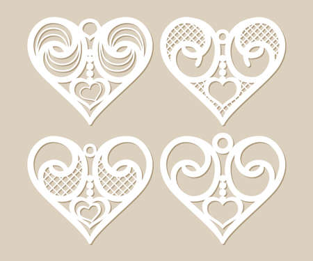plotter: Set stencil lacy hearts with carved openwork pattern. Template for interior design, layouts wedding cards, invitations, etc. Image suitable for laser cutting, plotter cutting or printing. Vector