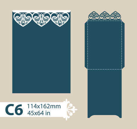 Layout congratulatory envelope with carved openwork pattern. Template is suitable for wedding greeting cards, invitations, etc. Picture suitable for laser cutting, plotter cutting or printing. Vector Illustration