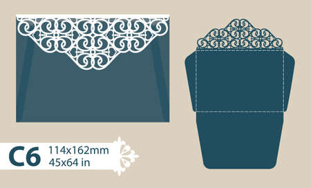 laser cutting: Layout congratulatory envelope with carved openwork pattern. Template is suitable for greeting cards, invitations, etc. Picture suitable for laser cutting, plotter cutting or printing. Vector