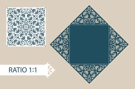 corte laser: Disposición tarjetas plegables cuadrados. El patrón es conveniente para las tarjetas de felicitación, invitaciones, menús, etc. La plantilla adecuada para el corte por láser, plotter de corte, troquelado o estampación. Vector. Fácil de editar