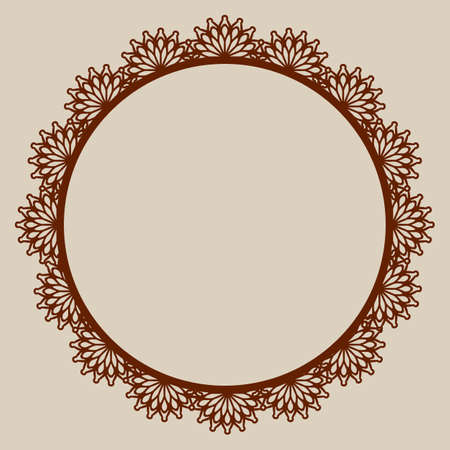 plotter: Abstract round frame with swirls. Pattern is suitable for greeting cards, invitations, design interiors etc. Template suitable for laser cutting, plotter cutting or printing. Vector. Easy to edit.