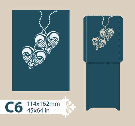plotter: Layout congratulatory envelope with carved openwork pattern. Template is suitable for wedding greeting cards, invitations, etc. Picture suitable for laser cutting, plotter cutting or printing. Vector Illustration
