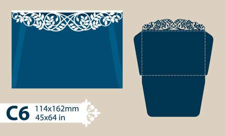レイアウト祝賀封筒彫刻透かし彫りのパターン。テンプレートは、グリーティング カード、招待状などに最適です。レーザー切断、切断または印刷  イラスト・ベクター素材