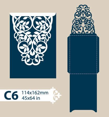 corte laser: dotación de felicitación plantilla con patrón de calados tallados. Plantilla es adecuada para tarjetas de felicitación, invitaciones, menús, etc. imagen adecuado para el corte por láser o impresión. Vector. Fácil de editar