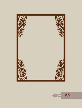 laser cutting: Abstract square photo frame with swirls. Pattern is suitable for greeting cards, invitations, menus, design interiors etc. Template suitable for laser cutting or printing. Vector. Easy to edit