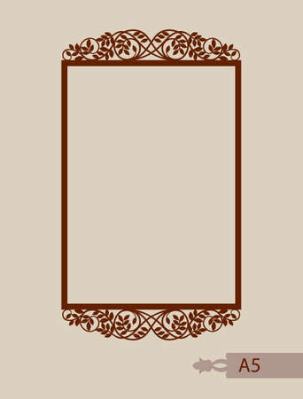interiors: Abstract square photo frame with swirls. Pattern is suitable for greeting cards, invitations, menus, design interiors etc. Template suitable for laser cutting or printing. Vector. Easy to edit