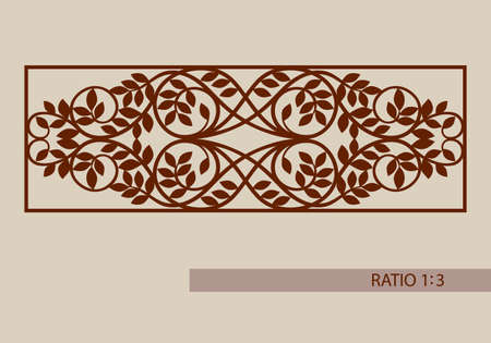 paper cut: Floral ornament. The template pattern for decorative panel. A picture suitable for printing, engraving, laser cutting paper, wood, metal, stencil manufacturing. Vector. Easy to edit
