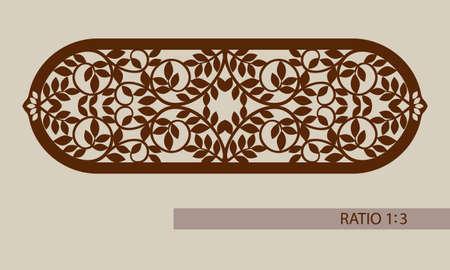 corte laser: adornos florales. El patrón de plantilla para el panel decorativo. Una imagen adecuada para la impresión, el grabado, el papel del corte por láser, la madera, el metal, la fabricación de la plantilla. Vector. Fácil de editar