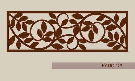 adornos florales. El patrón de plantilla para el panel decorativo. Una imagen adecuada para la impresión, el grabado, el papel del corte por láser, la madera, el metal, la fabricación de la plantilla. Vector. Fácil de editar Ilustración de vector