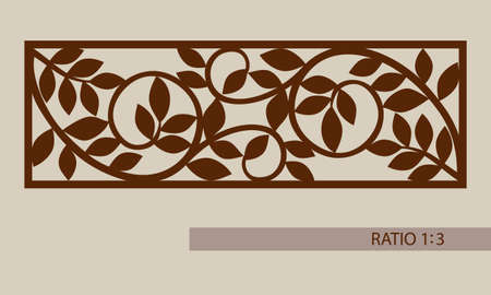 Floral ornament. The template pattern for decorative panel. A picture suitable for printing, engraving, laser cutting paper, wood, metal, stencil manufacturing. Vector. Easy to edit