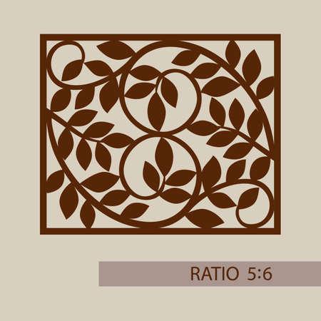 tallado en madera: adornos florales. El patrón de plantilla para el panel decorativo. Una imagen adecuada para la impresión, el grabado, el papel del corte por láser, la madera, el metal, la fabricación de la plantilla. Vector. Fácil de editar